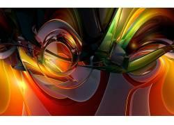 抽象,橙子,数字艺术,形状,华美13955