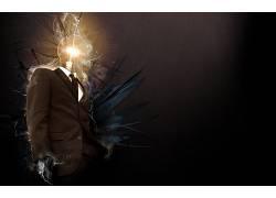 抽象,超现实主义,灯泡,数字艺术,西装10945