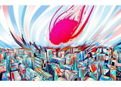 抽象,艺术品,画,市,脑,华美451045