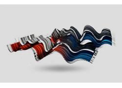 数字艺术,抽象,3D,波形,波浪,白色背景,尼古拉斯・蒙宁 - 巴罗伊5图片