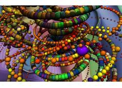 数字艺术,抽象,3D,球,领域,华美,链186130