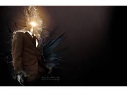 灯泡,数字艺术,西装,灯泡,男人,抽象,领带,简单的背景60853