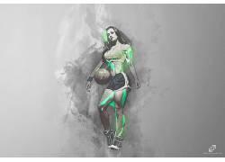篮球,妇女,运动,赛跑,跑,球,抽象,艺术品357584