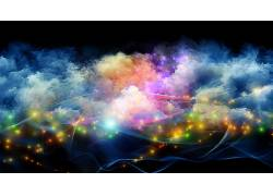 数字艺术,极简主义,华美,抽象,抽烟,星系,波浪,泛着,黑色的背景,