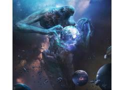 粉丝艺术,空间,行星,外星人,宇宙,抽象,方新宇430716
