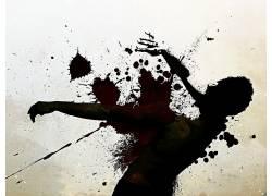 血液,油漆飞溅,简单的背景,数字艺术,抽象,人,艺术品6555
