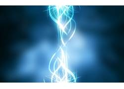 灯火,蓝色,抽象,数字艺术,形状12171