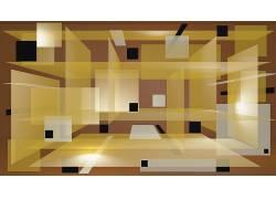 数字艺术,抽象,CGI,几何,广场,3D,黑色,黄色,棕色背景195728