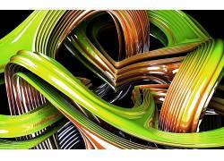 数字艺术,抽象,CGI,线,波浪,3D,反射,绿色,黑色的背景195729