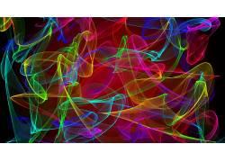 数字艺术,极简主义,抽象,抽烟,华美,泛着,黑色的背景,光迹280809