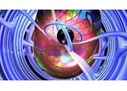 数字艺术,抽象,CGI,给予,3D,圈,领域,华美,泛着,几何,波浪线30378