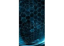 数字艺术,极简主义,抽象,模式,几何,六边形,3D,领域,蓝色,泛着,线