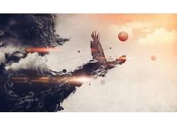 鸟类,鹰,抽象,数字艺术,Woodkid354