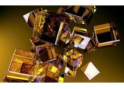极简主义,数字艺术,抽象,几何,金,立方体,反射,黄色背景171035