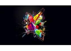 极简主义,数字艺术,抽象,华美,几何,3D,泛着,飞溅180846
