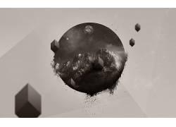 极简主义,数字艺术,抽象,山,性质,行星,立方体28363