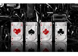 黑色抽象风格扑克A组合