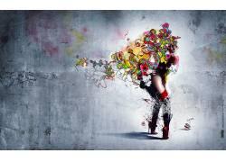 质地,华美,妇女,抽象,高跟鞋,模型,数字艺术6595图片