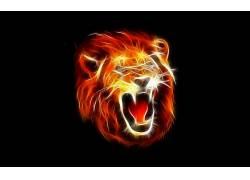 狮子,怒吼,抽象,Fractalius112030