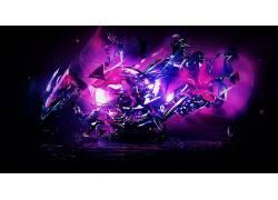 黑色,黑暗,抽象,3D,碎片,玻璃,蓝色,亮,紫色,粉438354图片
