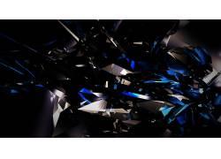 黑色,黑暗,抽象,3D,碎片,玻璃,蓝色,亮438353图片