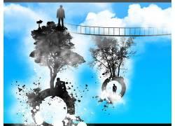 生活,抽象,圈,人,性质,天空,树木,云,数字艺术84263