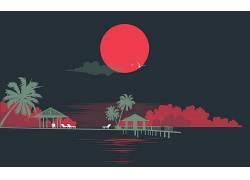 极简主义,艺术品,棕榈树,太阳,海,抽象355810图片