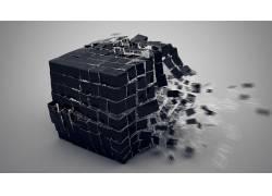 给予,抽象,简单的背景,立方体,运动模糊,破灭,数字艺术,CGI17279