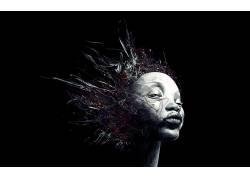 数字艺术,抽象,妇女,面对,黑色的背景,简单的背景41496