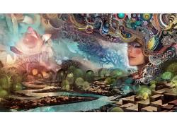 数字艺术,绘画,妇女,面对,艺术品,幻想艺术,抽象,树木,闭着眼睛,