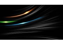 极简主义,黑色的背景,数字艺术,抽象,线,泛着,橙子,蓝色,绿色,光