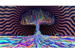 树木,抽象,Matei Apostolescu,LSD,艺术品,迷幻3020