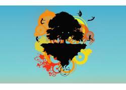 矢量艺术,华美,抽象,蓝色背景,树木,性质,数字艺术107560