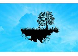 矢量艺术,华美,树木,抽象,性质,蓝色背景,艺术品107559