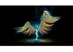 翅膀,天使,灯火,黑暗的背景,火,妇女,幻想艺术,抽象,简单的背景,
