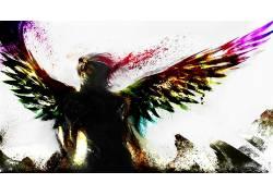 翅膀,艺术品,幻想艺术,数字艺术,天使,华美,抽象9377
