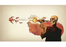 艺术品,幻想艺术,概念艺术,骨架,死亡,鸟类,抽象51585
