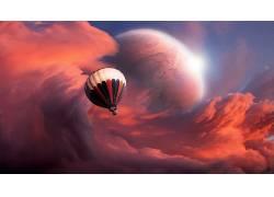 艺术品,幻想艺术,热气球,云,飞行,华美,抽象,行星,泛着,车辆,太空