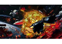艺术品,幻想艺术,飞船,战争,空间,宇航员,抽象274520