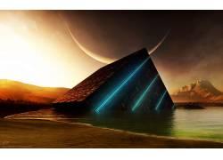 日落,抽象,月亮,科幻小说,数字艺术,水,新月,立方体,山,泛着,艺术图片