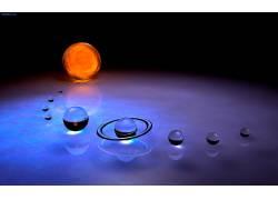 空间,数字艺术,艺术品,抽象,球,CGI,太空艺术,行星,行星环,反射,3