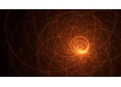 数字艺术,CGI,极简主义,抽象,光迹,圈,螺旋,线,黑色的背景278835