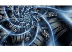 数字艺术,蓝色,抽象,线,螺旋,灯火,锈,分形176414