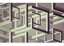 数字艺术,抽象,立方体,线,3D,3d对象,单色,光学错觉,艺术品309939