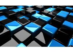 数字艺术,抽象,立方体,黑色,蓝色13219图片