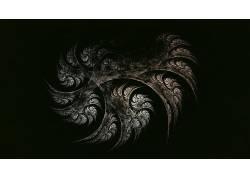 数字艺术,抽象,简单的背景,分形,黑色的背景,抽烟425582图片