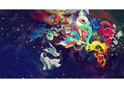 空间,华美,抽象,迷幻,宇航员,数字艺术92