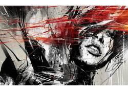 艺术品,妇女,画画,面对,抽象,选择性着色36071