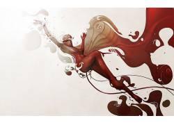 艺术品,妇女,简单的背景,流体,胳膊,面具,抽象,数字艺术9398