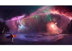 空间,宇航员,冲浪者,抽象,冲浪,明星,星云,科幻小说,照片处理,数